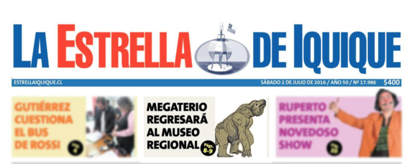 Diario La Estrella: «La gran bestia tarapaqueña que recupera el Museo Regional»