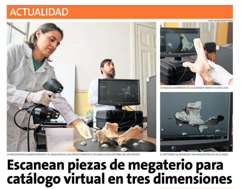 Diario La Estrella: «Escanean piezas de megaterio para catálogo virtual en 3D»
